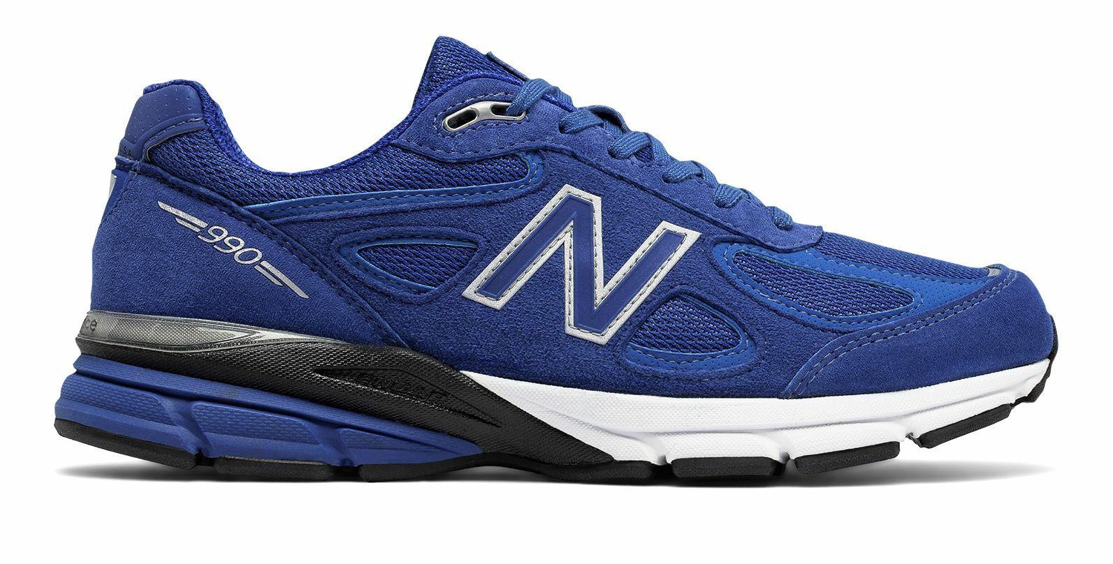 Hecho para hombre 990V4 New Balance en EE. UU. Zapatos Azul Con Plata
