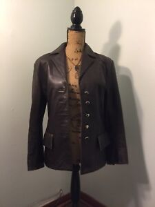 Vintage-Dero-by-Rocco-D-039-Amilio-Chocolate-Brown-Size-Small-Leather-Coat