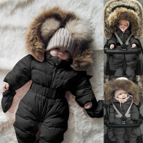 Infant Baby Boy Girl Winter Romper Jacket Hooded Warm Thick Coat Outerwear