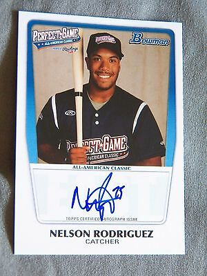 Cleveland Indians Nelson Rodriguez 2011 Bowman Perfect Game Auto #35/199