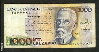 Brazil Banco Central Do Brasil 1 000 Mil Cruzados 0160a Paper Money 1 Ebay