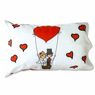Coppia Federe Per Guanciale Honeymoon Sposi I Love Sleeping Stampa Digitale 3... Chiaro E Distintivo