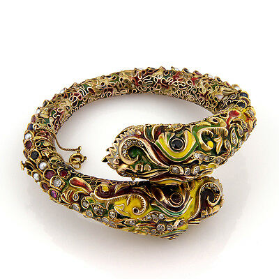 Vintage 14K YG Diamond Sapphire Ruby and Pearl Enamel Dragon Bangle Bracelet