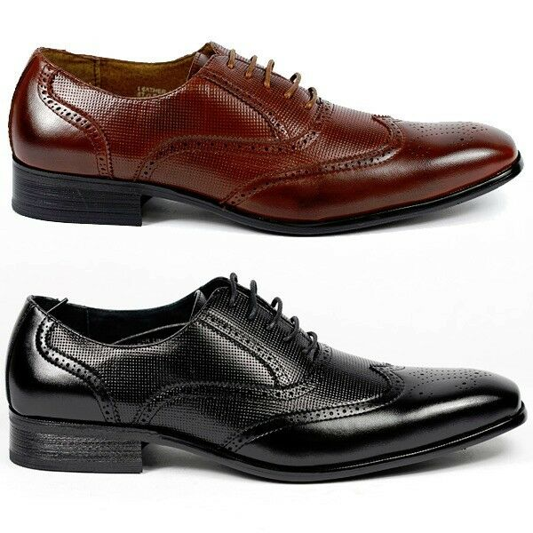 Delli Aldo Men's Lace Up Wing Tip Dress Classic Shoes w/ Leather Lining M-19122