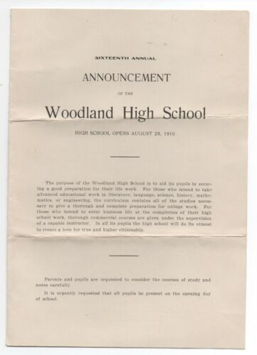 1910 16th Annual Announcement from Woodland High School Yolo County CA