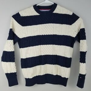 Tommy Hilfiger Mens Sweater Xl Cable Knit Blue White Striped Crew