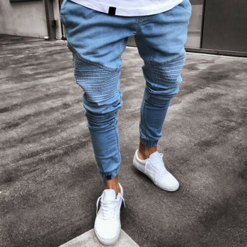Men/'s Ripped Skinny Jeans Stretchy Destroyed Slim Fit Denim Pants Long Trousers