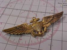 ORIGINAL RARE WWII FULL SIZE NAVAL AVIATOR PILOT WINGS 14K GOLD AMICO / ENGRAVED