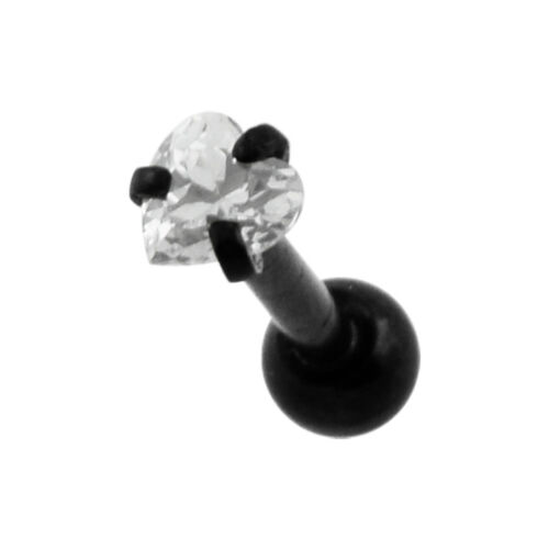 316L Tragus Bar with Clear Heart Gem Top Piercing Jewellery