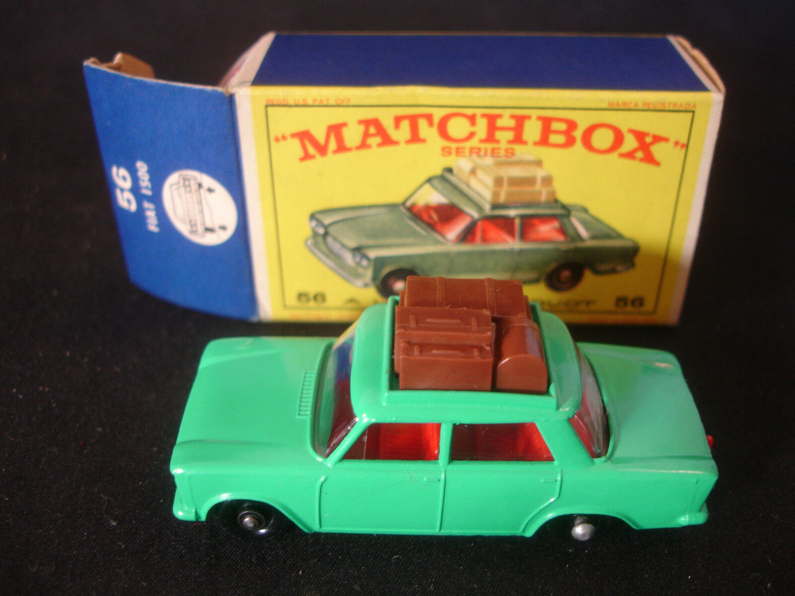 Matchbox 56 Fiat 1500 De Juguete Diecast Car w original Caja