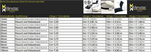 Klettband selbstklebend Industriequalität 16 20 25 30 50 100 schwarz oder weiß
