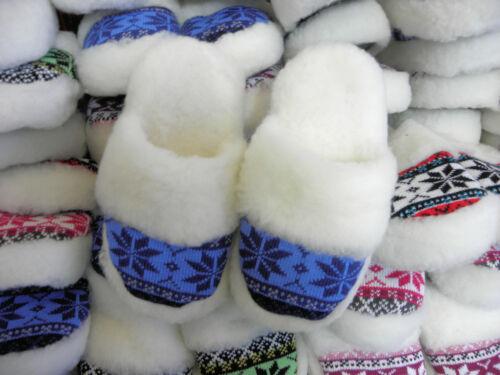 Lammfell Pantoffeln Hausschuhe Hüttenschuhe Naturprodukt Größe zur Auswahl Blau