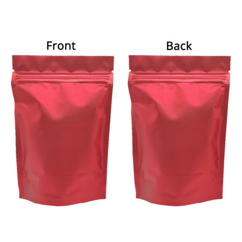 4x6in Matte Double Side Red Foil Mylar Stand up Zip Lock Pouch Bag w//Machine