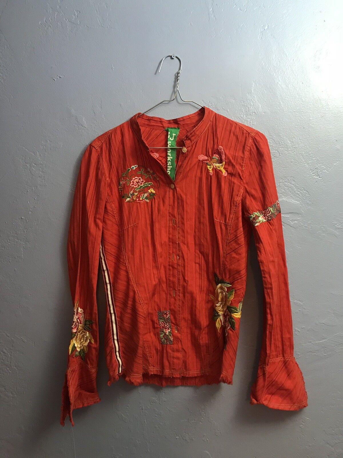 Johnny Was 3J Workshop orange Long Sleeve Embroirdered Blouse Size S