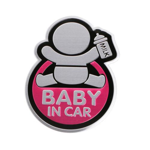 3D Car Window Aluminum Sticker Baby IN CAR Warning Decal Safety Waterproof