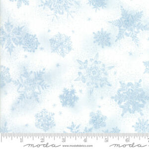 MODA-Christmas-Forest-Frost-Glitter-Snowflake-Blue-Cotton-Fabric-By-The-Yard