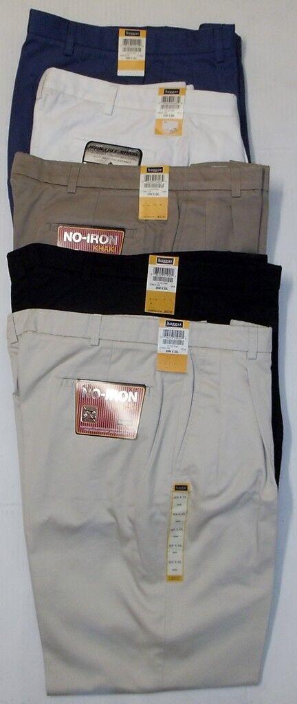 Haggar 235 Mens No Iron Pleated Cuffed Khaki Pants