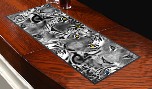 TIGER FACES DESIGN Bar Towel Runner Pub Mat Beer Cocktail Party Gift