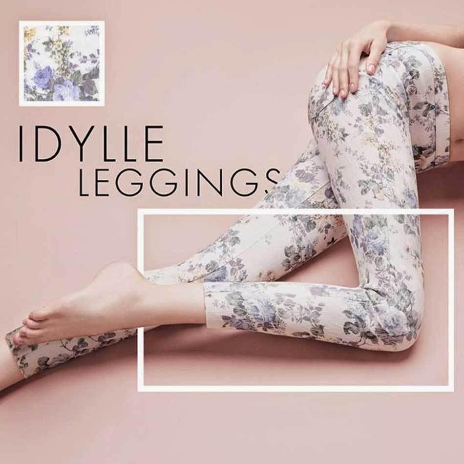 Leggings women Philippe Matignon bluemen auf Jaquard Taschen Retro Art. Idylle