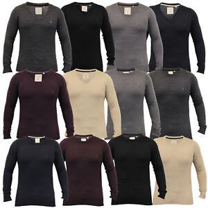 mens-jumper-Soul-Star-knitted-sweater-pullover-crew-v-neck-lightweight-winter