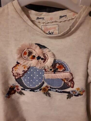 navy l oatmeal colour top with owl motif 18-24 Ggirls mantaray top /& leggings