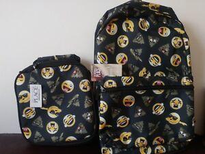 565f0685fa05 2pc The Children s Place Kids Back to School Black Emoji Backpack ...