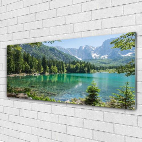 Glasbilder Wandbild Druck auf Glas 125x50 Gebirge See Wald Natur