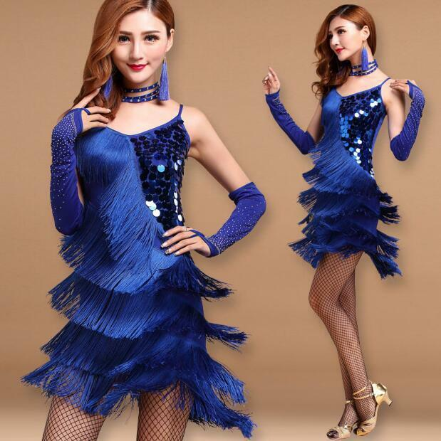 Womens Latin Tassel Dress Practice Competition Sling Skirt Sequins Fringe Cusaul