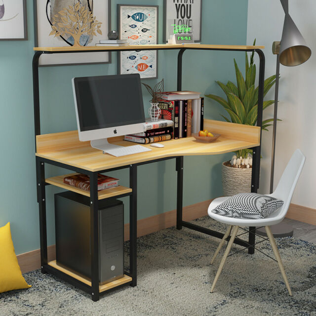 2 Tier L Shaped Corner Computer Table PC Laptop Desk Bookshelf Office Study New