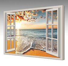 LARGE 20x30 Inch SUNSET WAVES WINDOW VIEW CANVAS WALL ART PICTURE PRINT NEW