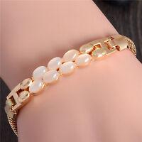 Exquisite 18k Gold Plated Opal Austrian Crystal Lady's Bracelet Bangle 21 cm