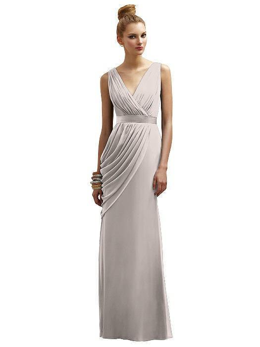 Lela Rose V Neck & Back Swag Side Taupe Chiffon Prom Bridesmaids Sz 14 Dress