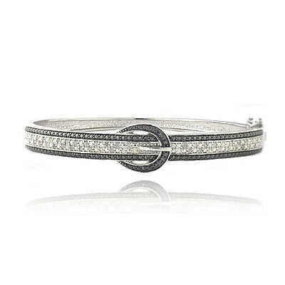 0.50ct TDW Black & White Diamond Belt Buckle Bangle Bracelet