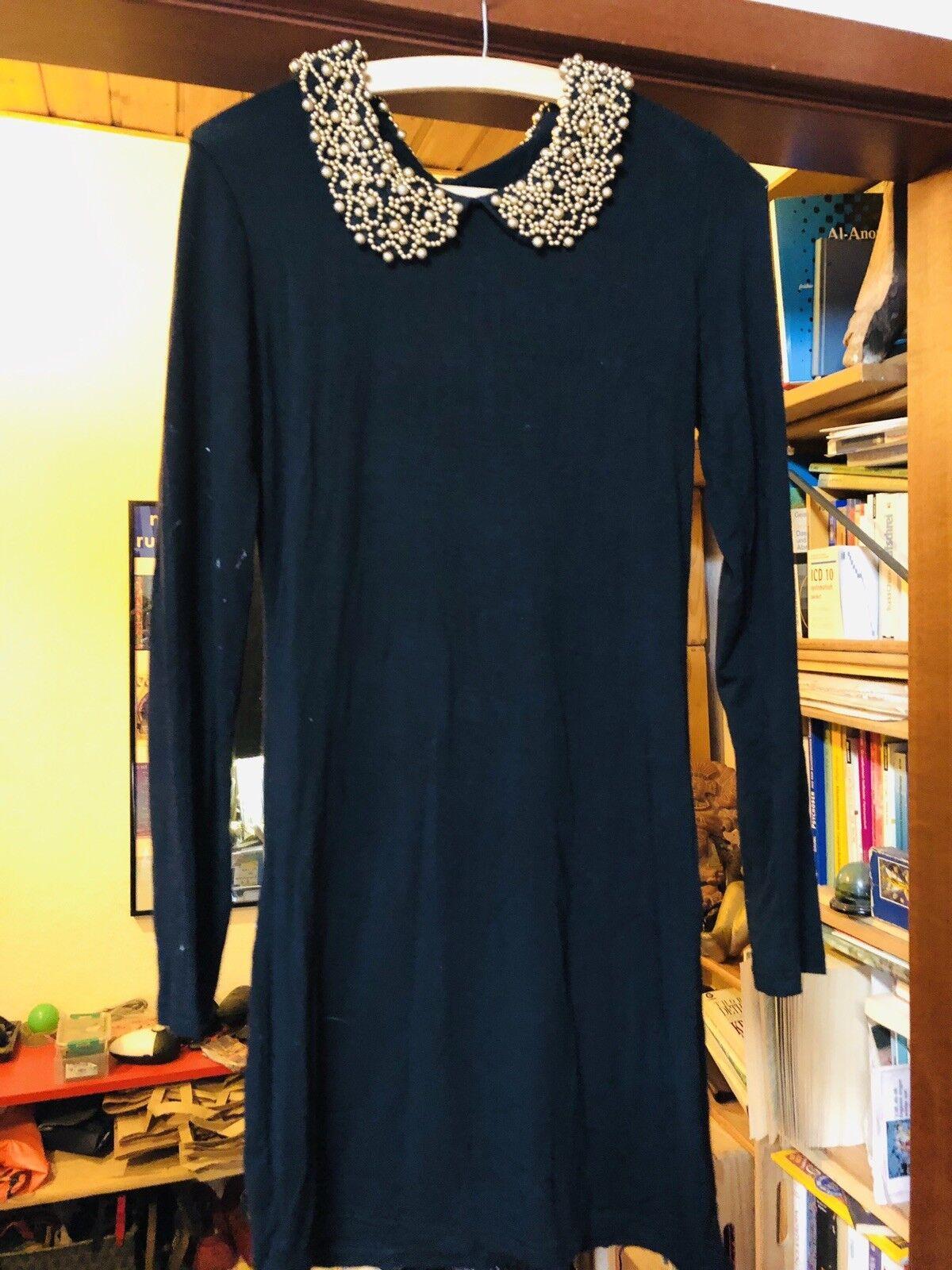 Designer Kleid Schwarz  Bubschkragen TEUFLISCH mit STRASS PERLEN Pailletten S 36