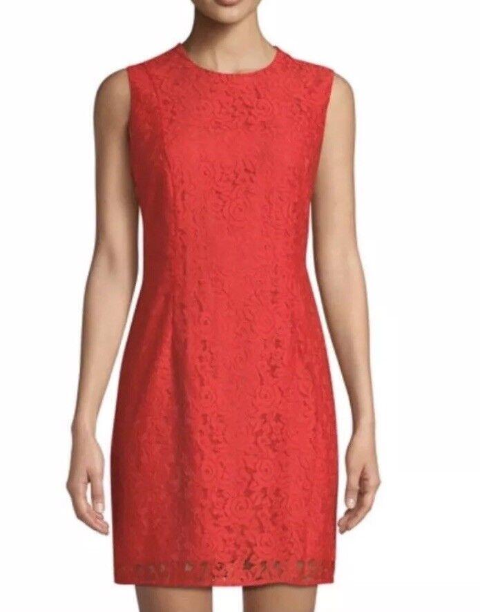 448 NWT Diane von Furstenberg Tailored Lace Sheath Dress 10 Red