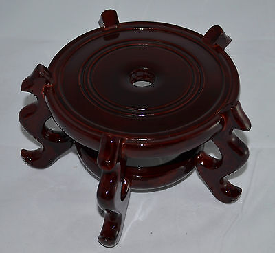 Other Asian Antiques Asian Antiques Amicable N°3958 Base Orientale 14 Cm Ø Legno Bordeaux Sotto Vaso