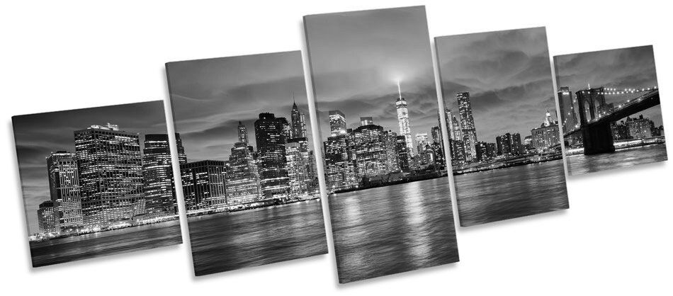 New york skyline ville coucher de soleil b&w multi toile murale art photo box frame