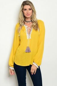 New-Yellow-Cowgirl-Peasant-Fringe-Embroidered-Long-Sleeve-Western-Blouse-S-L