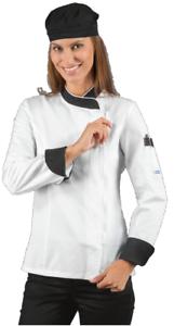 Chef Nero Isacco Manica Cook Donna Lady Lunga Zip Bianco Giacca axPqfU5w5