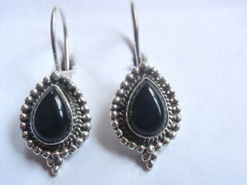 Black Onyx 925 Sterling Silver Wire Back Earrings with Silver Dot Accents