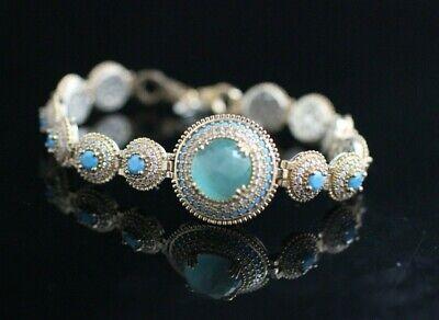 Excellent Turkish Handmade AquaMarine Sterling Silver 925 Bracelet