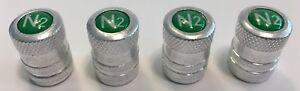 4-Aluminum-Nitrogen-VALVE-CAPS-N2-Inlayed-TPMS-Safe-w-Window-Decal