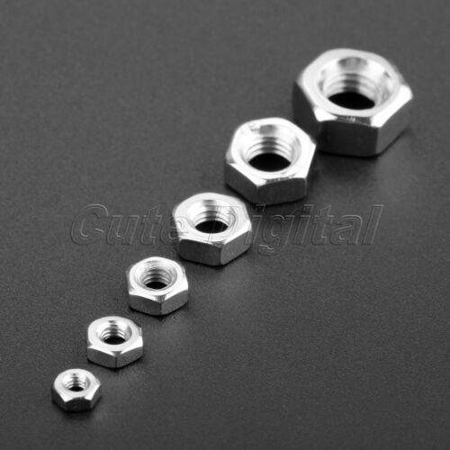 50Pcs 100pcs Silver M2 M2.5 M3 M4 M5 M6 Metric Thread Hex Nut Hexagon Screw Nuts