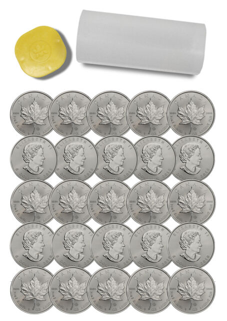 Roll of 25 - 2016 Canada 1 Troy Oz .9999 Fine Silver Maple Leaf $5 Coin SKU37997