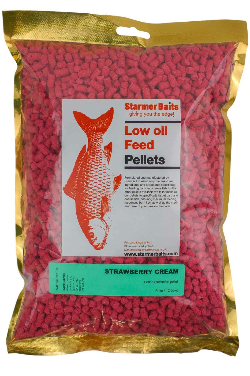 Strawberry cream feed pellets for carp and coarse fishing all season 5mm
