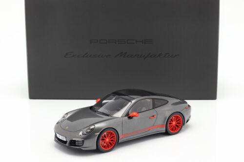 Porsche 911 991 II Carrera 4S achatgrau metallic mit Vitrine 1:18 Spark