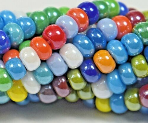 """Czech Glass Seed Beads Size 8//0 /"""" LUSTER OPAQUE MIXED /"""" Strands"""
