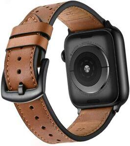 Mifa Apple Watch Genuine LEATHER (44mm/42mm) Black Stainless Steel (NIB) SEALED!