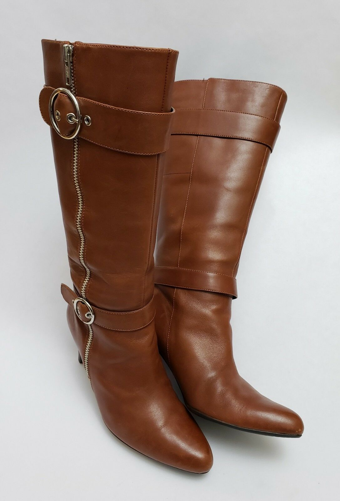 ab5c638a6dbae2 ECCO Stiefel schuhe braun Knee Knee Knee High Pull On Faux Zipper damen  Größe 7-7.5 EU 38 d4ba53