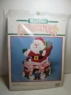 Bucilla Christmas Santa Amp Elves Candy Dish Needlepoint